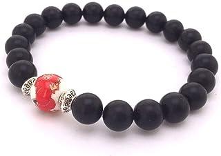 Bracciale zen da donna, perle di agata nera con perla centrale stampata rossa
