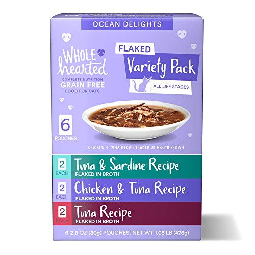 WholeHearted Grain Free Ocean Delights Flaked Wet Cat Food Variety Pack for All Life Stages, 2.8 oz. 6 Count