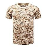 Hombre Verano Casual Camisetas Camufladas Tecnicas Manga Corta Secado Rápido Aire Libre Remeras Dry Fit Transpirables T Shirt Training Top Desierto Digital 3XL