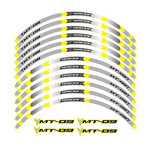 Nuevo 6 Color Motocicleta Styling Wheel Hub Rain Raya Raya Reflexivo Calcomanía Pegatinas Reflector de seguridad (Color : A yellow)