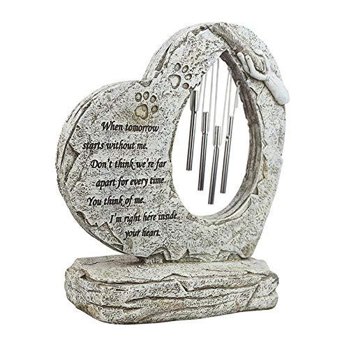 FLAMEER Piedra Conmemorativa para Perro, impresión a Mano en Forma de corazón pérdida Personalizada de Regalos para Mascotas Perro con pomo de la Amistad y