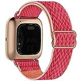 Fengyiyuda Elastico Nylon Cinturino Compatibile con Fitbit Versa / Versa 2 / Versa Lite/Versa SE, Regolabile Cinturinio per Smartwatch Donna Uomo Sportivo di Ricambio morbido Straps,Pomegranate
