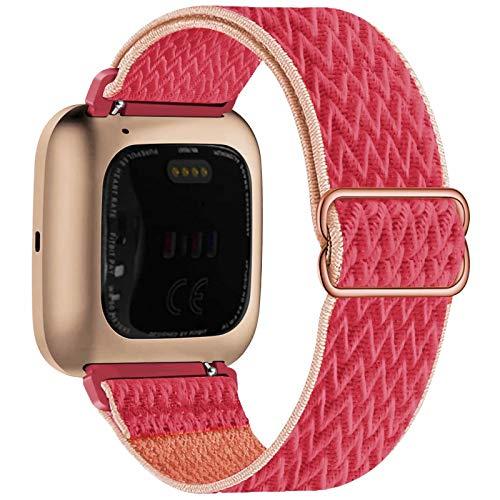 Fengyiyuda Elástico Nylon Correa de Reloj Compatible con Fitbit Versa 2/Versa/Versa Lite/Versa SE,Bandas Suaves para Relojes Inteligentes, Seporte Hebillas Ajustables,correas de repuesto,Pomegranate
