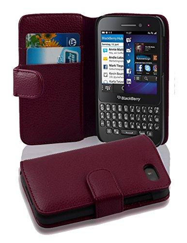 Cadorabo Hülle für BlackBerry Q5 - Hülle in Bordeaux LILA – Handyhülle mit Kartenfach aus struktriertem Kunstleder - Hülle Cover Schutzhülle Etui Tasche Book Klapp Style