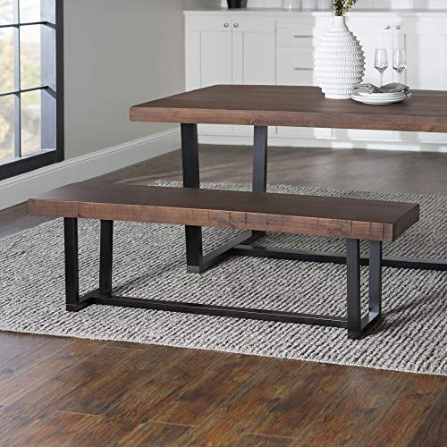Walker Edison Furniture Industrial Farmhouse Wood Entryway Dining Bench, 60 Inch, Brown