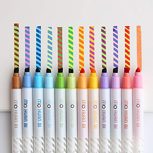 Marker 12st Magic Color Zeichnungs-Feder-Set Discolored Highlighter Punkt Liner Pens Scrapbooking Art Supplies Briefpapier-Schule