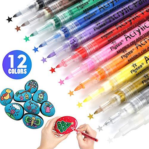 Guiffly Acrylstifte Marker Stifte(0.7mm/12 Farben), Paint Markierungsstifte für Stein, Kunststoff, Keramik, Glas, Holz, Stoff - Feinmarkierte Farbmarkierungen auf Wasserbasis