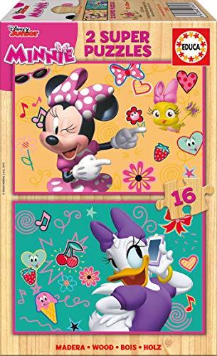 Educa- Minnie Happy Helpers 2 Puzzles Infantiles de Madera ecológica de 16 Piezas, a Partir de 3 años (17623)
