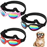 3 Pairs Dog Goggles Dog Sunglasses Waterproof Pet Sunglasses Windproof Dog Eyeglasses with Adjustable Band for Medium Large Puppy Dogs, 3 Colors