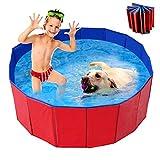 WELLXUNK Piscina para Mascotas,Bañera para Perros,Piscina para Mascotas Plegable,Antideslizante Piscina para Mascotas,para Perros y Gatos Pequeños Medianos y Grandes Interior o Exterior (80 * 30cm)