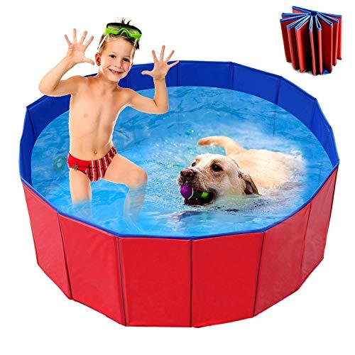 WELLXUNK Haustier Schwimmbad,Faltbarer Pool,Schwimmbad für Hunde,Haustiere Badewanne, Für Kleine & Große Hunde,Planschbecken Kinder und Hunde, Eco-Friendly PVC Hundepool(80 * 30cm)
