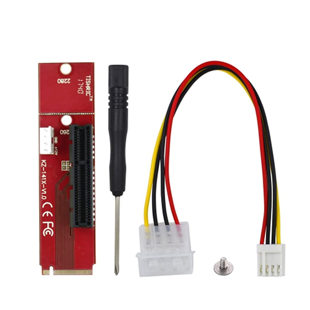 Anxus NGFF M.2 to PCI-E PCI Express 4X 1x Slot Riser Card Adapter, M.2 Key-M Adapter Converter with 4 PIN Power Cable for ETH ZEC BTC Mining Machine
