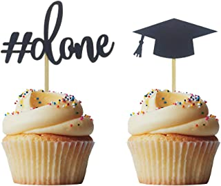 Morndew 24 PCS Graduation Done and Doctoral Cap Cupcake Toppers for Graduation Party Decorations