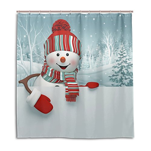 jstel Decor Duschvorhang 3D Cartoon Schneemann Weihnachten Muster Print 100% Polyester Stoff 167,6x 182,9cm für Home Badezimmer Deko Dusche Bad Vorhänge mit Kunststoff Haken