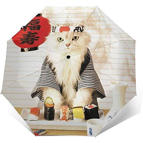 Sushi Cat Japanese Cute Funny Kitten Travel Umbrella Sun Umbrella-Lightweight Windproof Sunscreen Umbrella-Auto Open and Close Button