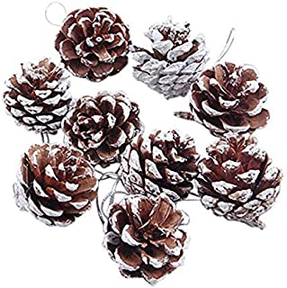 U-House Pine Cones 24 Pieces Christmas PineCones Hanging Ornament for Christmas Tree Party Decoration (Snow)
