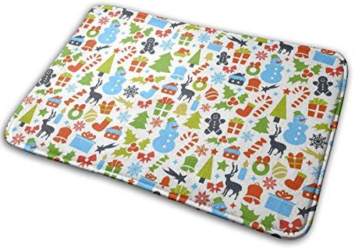 ongzhubaih Fußmatte Weihnachten Puppe Eingangsmatte Bodenmatte Teppich Indoor Outdoor Haustür Bad Matten Polyester Mikrofaser Rutschfeste Weiche Geschenk Präsentieren 23,6 X 15,7 Zoll
