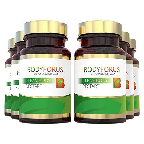 BodyFokus Clean Body Restart | Mit Mariendistel (80% Silymarin), Artischocke, Brennessel, Kurkuma (95% aktive Curcuminoide), Chlorella, Klettenwurzelpulver u.v.m | 6 Dosen