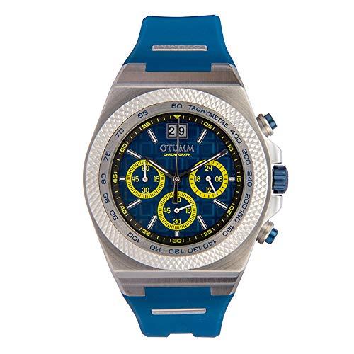Otumm Big Date - Reloj unisex (45 mm, con correa azul oscuro)