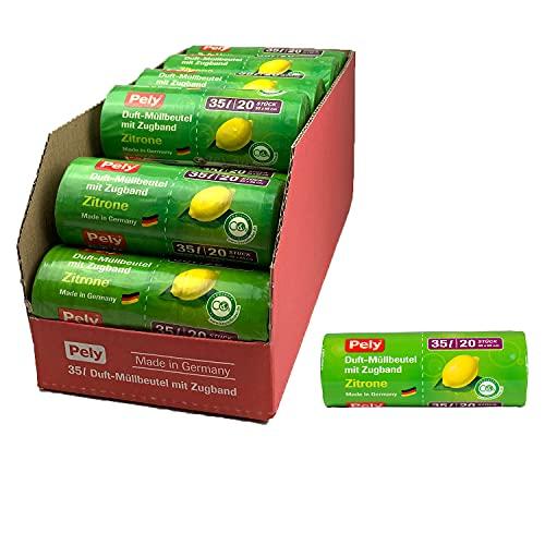 Pely® Duft-Müllbeutel mit Zugband – klimafreundlich, 35 Liter, mit dem frischen Duft der Zitrone, Vorteilspack (17x20 Beutel), made in Germany, für die Entsorgung von Restmüll