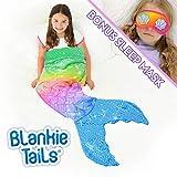 Blankie Tails | Mermaid Tail Blanket - Double Sided Cozy Mermaid Minky Fleece Blanket - Machine Washable Fun Wearable Blanket for Kids (Rainbow Glitter with Sleep Mask)