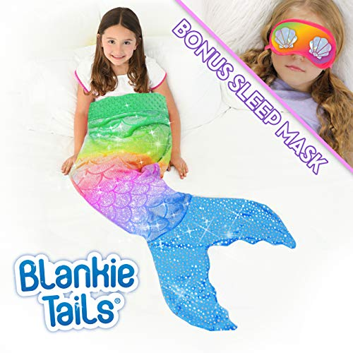 Blankie Tails | Mermaid Tail Blanket with Bonus Sleep Mask Gift Set  Double Sided Glitter Sparkle Cozy Mermaid Minky Fleece Blanket  Machine Washable Fun Wearable Blanket for Kids Rainbow