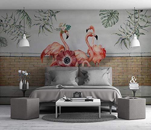 Flamingo Fotobehang, 3D-vliesbehang voor slaapkamer, woonkamer, keuken, muurkunst, decoratie 400x280cm