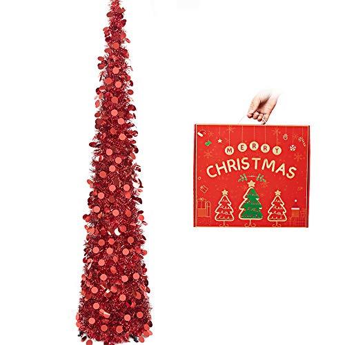 N&T NIETING künstlicher Weihnachtsbaum 150 cm, Zusammenklappbarer Pop-up Rot Weihnachtsbaum mit Pailletten für Weihnachten, Partybedarf, Haus Dekoration