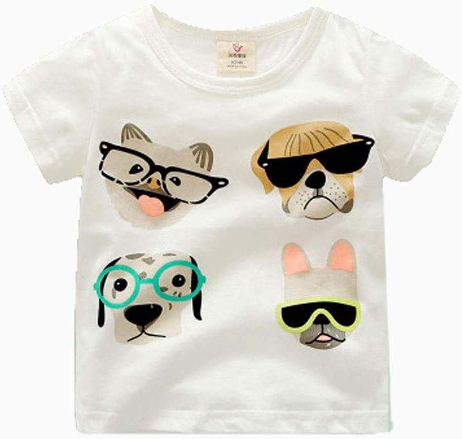 Short-Sleeved t-Shirt Summer Clothes Boys and Girls Kid's Cartoon Round Neck top Cotton Cotton T-Shirt Suitable for Kid with a Height of 90CM-140CM Soft (Color : E, Size : 130CM)