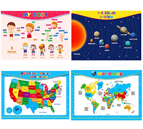 EVERJETTING 4 Pack Extra Large Educational Posters, 17 x 24'' Preschool Educational Learning Posters, World, USA Map, Human Body Poster, Solar System Poster for Kids Toddlers, Homeschool Classroom