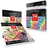 ARTEZA Real Brush Pens and Watercolor Pad Bundle, Set of 24 Markers and 2 Pack of Watercolor Paper Pads
