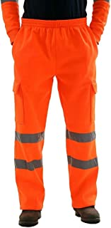 LUCKME Work Trousers for Men Elasticated Waist High Visibility Overalls Joggers Bottom Gym Trousers with Pockets Sweatpant...