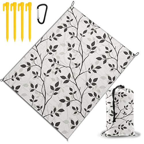 Find Discount Outdoor Picnic Blanket 67x57inch Black, White Leaves Foldable Waterproof Extra Large P...