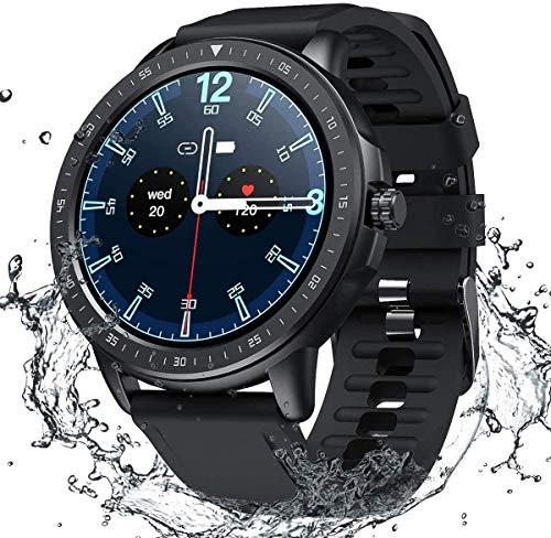 SANAG Smartwatch Herren, Smartwatch Wasserdicht IP67 HD-Touchscreen, Sport Smartwatch Musiksteuerung, Fernfotografie Schlaferkennung Kalorien, Schrittzahl für iOS und Android Schwarz