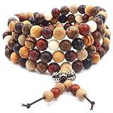 108 Perle in legno naturale Bracciale/Collana Rosario catena Perle multicolore Buddista tibetano Buddha Mala Bracciale nodo cinese per uomo Donna