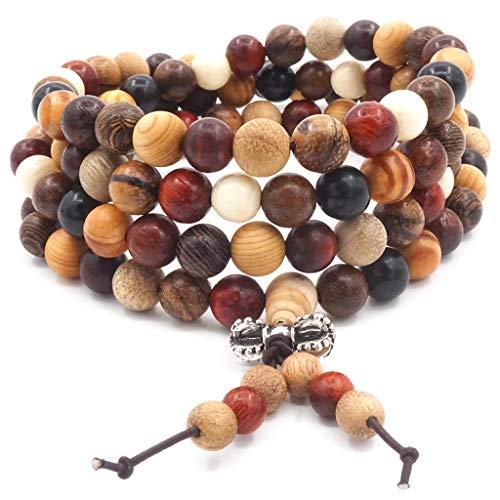 Thajaling 108 Perle in Legno Naturale Bracciale/Collana Rosario Catena Perle Multicolore Buddista Tibetano Buddha Mala Bracciale Nodo Cinese per Uomo Donna
