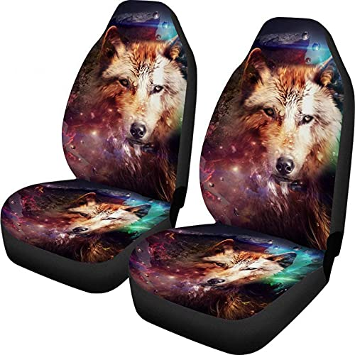 1 pcs Wolf and planet Animal Print Universal Fit Car Seat Covers 2 Piece...