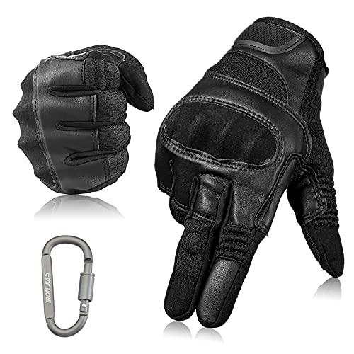 Guanti da moto Touchscreen Guanti in pelle da moto con dita intere per uomo e donna Guanti da motociclista con protezione per le nocche per arrampicata, motociclismo, ciclismo, escursionismo, caccia