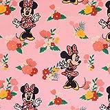 Loopomio Jersey Stoffe Disney Micky Maus Minnie Blumen rosa