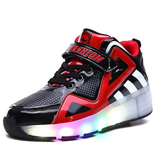 VerOut Rad Schuhe, Erwachsene Kinderschuhe Kinder Roller Schuhe mit LED-Breathable Art und Weise Boys & Girls heelies Turnschuhe Sport-beiläufige für Kinder,Schwarz,35