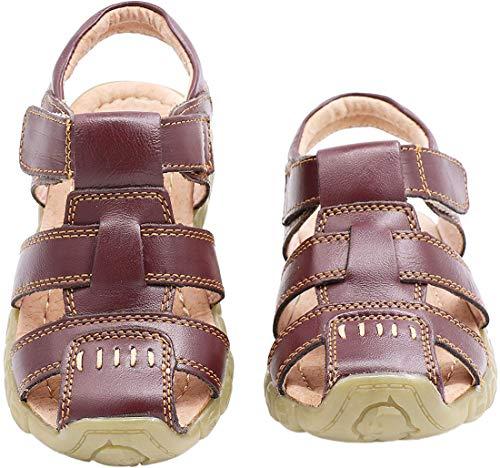 Gaatpot Unisex-Kinder Sandalen Mädchen Jungen Kindersandale Geschlossene Leder Sandale Sommer Sandaletten Lauflernschuhe Schuhe Braun 30.5 EU/31 CN