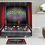Juego de 2 cortinas de ducha con alfombrilla de baño antideslizante, videojuegos, máquina recreativa, juegos retro, divertidos botones de joystick, electrónica vintage de los años 80, 90, 12 ganchos,