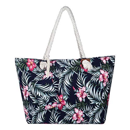 Grande borsa da spiaggia idrorepellente con cerniera Borsa a tracolla Shopper sole fiore