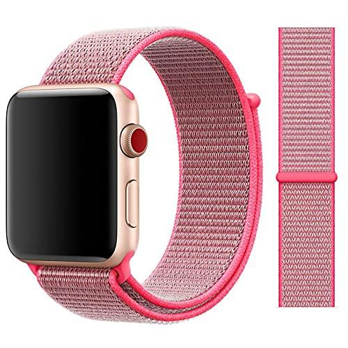 2 Piezas de Correa de Bucle Individual Trenzada elástica Compatible con Apple Watch Series 6/5/4/3/2/1 SE iWatch Nylon Sport Woven Loop Strap Band Ajustable Nylon elástico (E, 38 / 40MM)