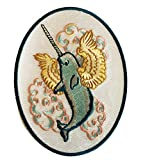 Flying Whale Narwhal WITH Wings in Clouds - Iron on Embroidered Patch Applique