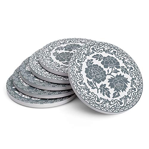 Teocera Drink Coasters - Grey and White, Moisture Absorbing Stone Coasters with Cork Base, Prevent Furniture from Dirty and Scratched - Set of 6