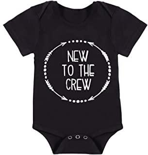 Newborn Baby Boy Clothes Romper New to The Crew Funny Printed Onesies Bodysuit Outfits