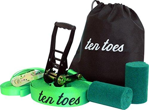 Kit de 10 dedos Slackline con línea Slackline de 50 pies y 2 pulgadas, incluye línea de entrenamiento de 50 pies, protectores de árbol, funda de transporte, fácil configuración para principiantes y avanzados