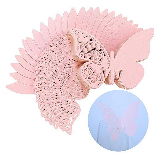 Xinlie Papillons Fleur 3D Carte de Verre Marque Place Forme de Papillon Ajouré Décoration de Table Nom du Style de Papillon Tags pour Décoration de Table,Décoration de Fête de Mariage (50 PCS)(Rose)