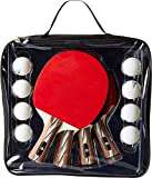 Backyard All Star   Table Tennis - Ping Pong Paddle Set - 4 Wooden Paddles and 8 Balls with Carrying Bag...